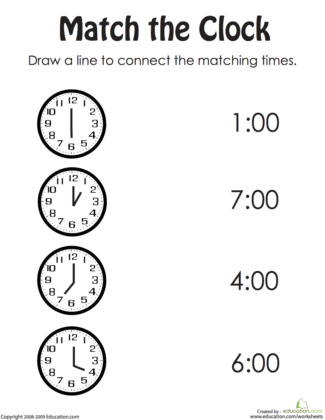 Draw the Correct Time II | Measurement & Telling Time | Kindergarten ...
