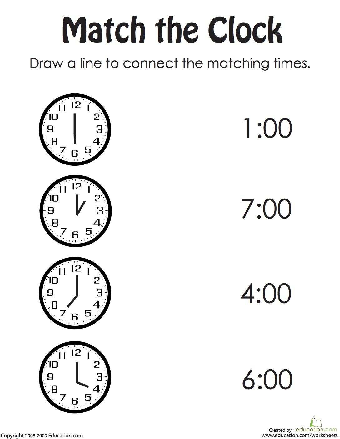 Draw the Correct Time II Clock worksheets, Kindergarten
