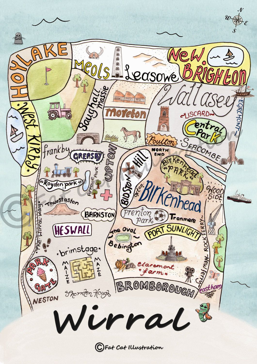 Wirral Map Illustrated Wirral Wirral Print Wirral Gift In