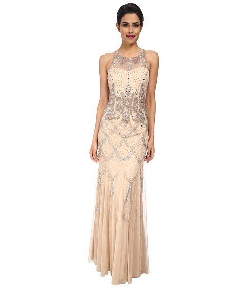 b18c5061fb Adrianna Papell Halter Fully Beaded Gown Champagne - Zappos.com Free ...