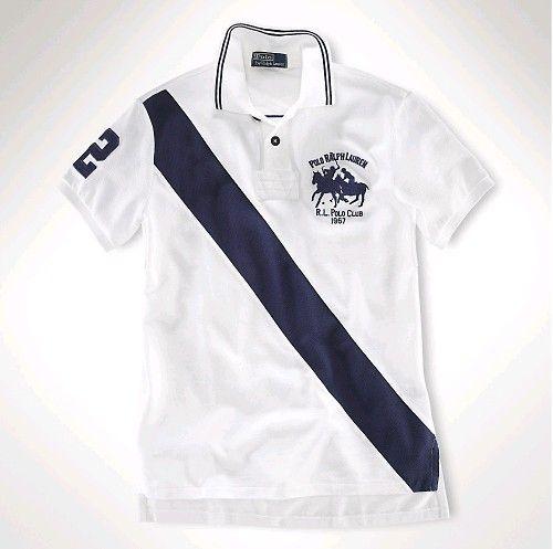 Vendible Ralph Lauren Classic-Fit Dual Match Diagonal Stripe Polo Bianco  Blu…