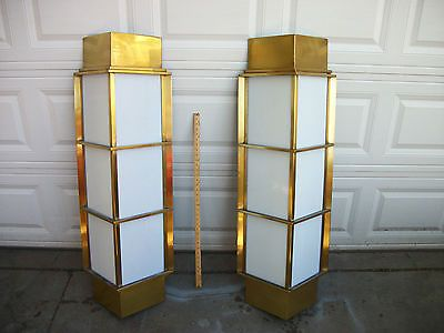 Pair of vintage outdoor brass art deco style 51 tall light fixtures sconces dream house for Art deco exterior lighting fixtures