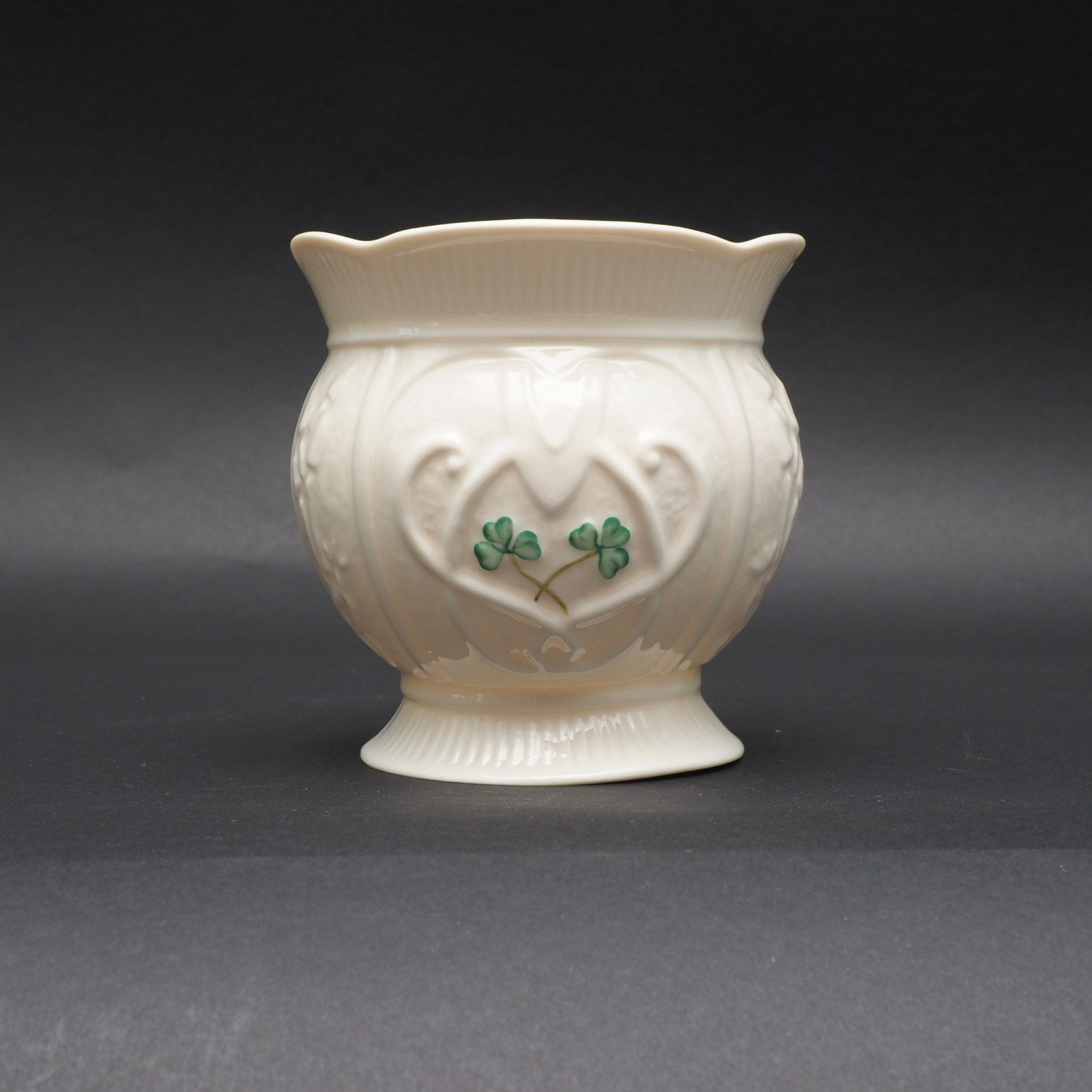 Belleek China Event Piece, Fine White Porcelain China Green Clovers, Titled Love Heart Signed Naomi Sloan, Supply for Flower Vase Home Decor by LiliesLegacies on Etsy