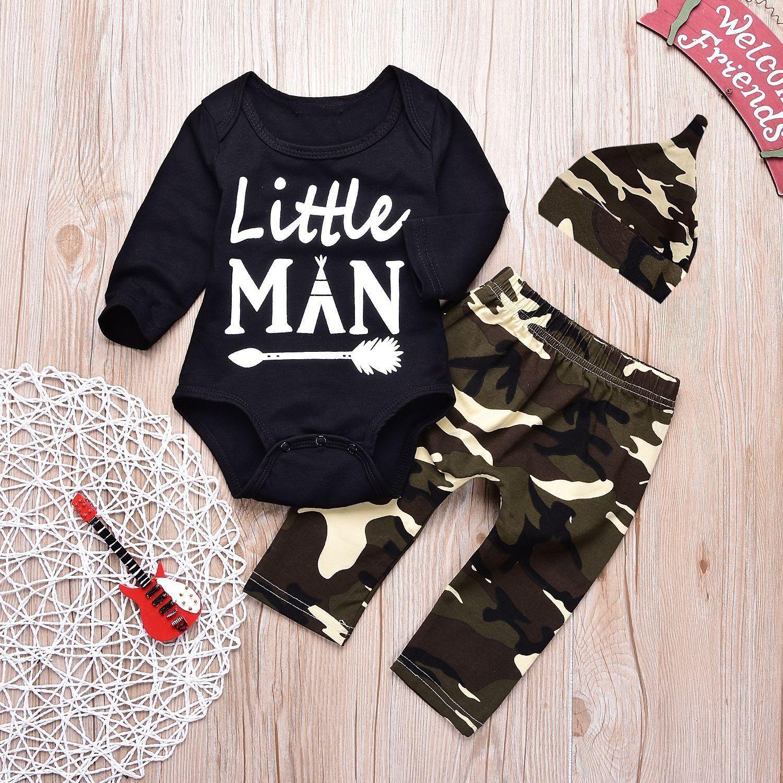 00a331b6df32 3Pcs Little Man Pattern Baby Romper Clothing Set For 0-24M | KIDDOS ...
