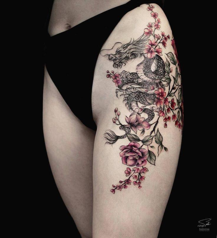 50+ süße Sommer bunte Blumen Tattoo Designs; Sommer Tattoo Ideen Stran