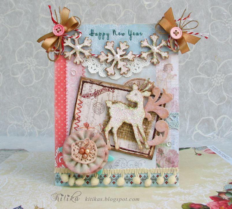 Shabby Happy New Year Card...with reindeer & snowflake banner...Tangerine Juice.