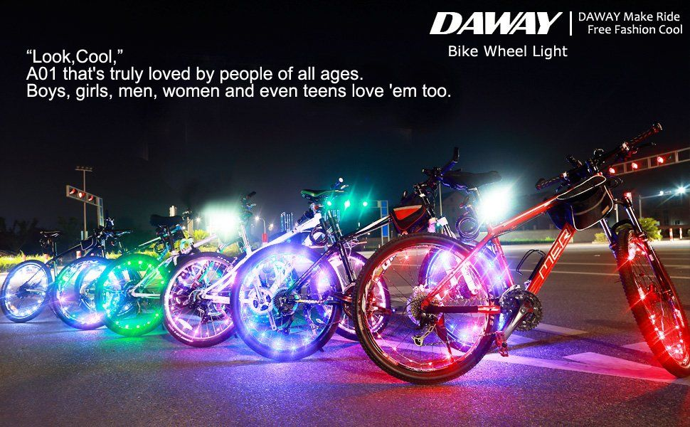 Bright Led Bike Wheel Light Daway A01 Waterproof Bicycle Tire