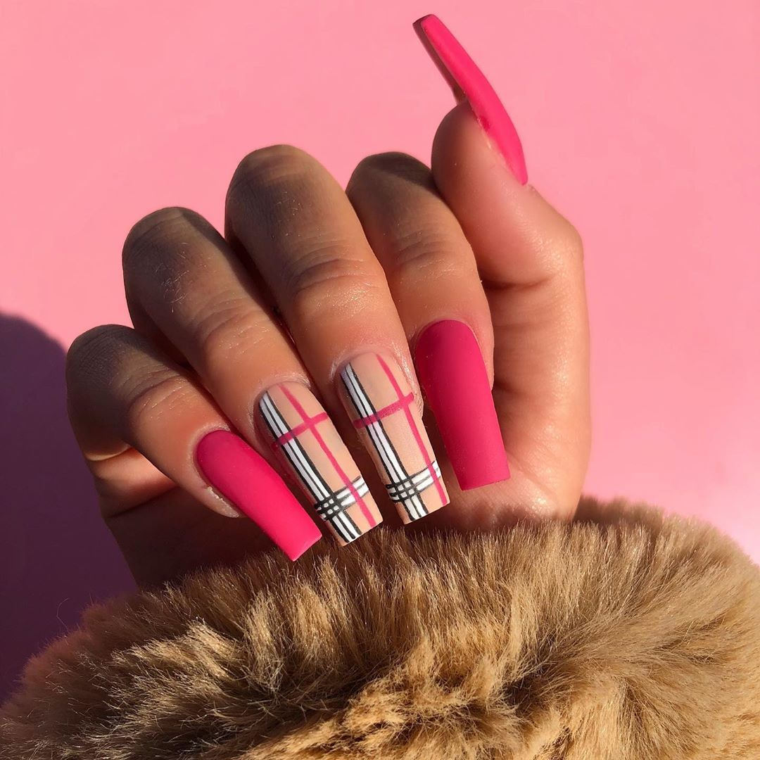 Joely Frain On Instagram Okkkk Obsessed With These Colours If You Want To Win Free Hair Free Nails And Free Burberry Nails Pink Acrylic Nails Plaid Nails