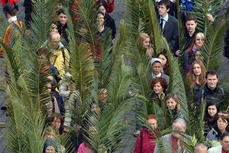 ROME March 24, 2013 -  People carry palm fronds as they arrive in St. Peter's Square.
