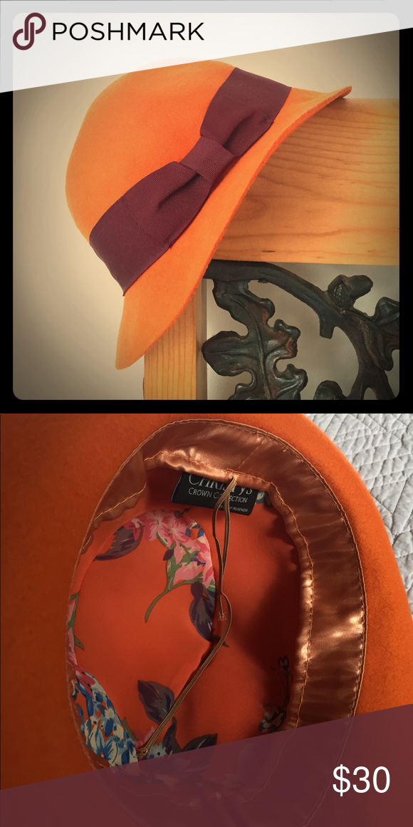 00cfd52452b9a Fedora Hat 🍁 CHRISTYS Crown Collection by Tony Merenda Vintage 90 s Orange  Pumpkin Felt Fedora Hat with Floral Satin Inner lining Tont Merenda  Accessories ...