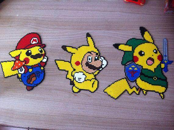 Pixel Art Perler Beads Pikachu Et Mario Deguises Perler Bead