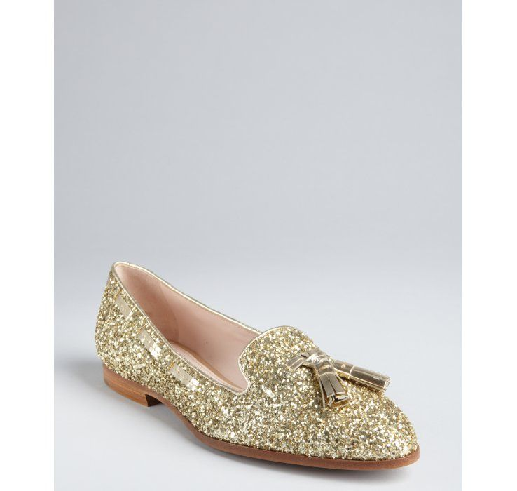 Miu Miu gold glitter leather tassel flats