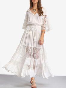 new product ce111 4f59a Weiße Spitze-V-Hals-Bindung Taillen-Maxi Kleid | LebensLust ...