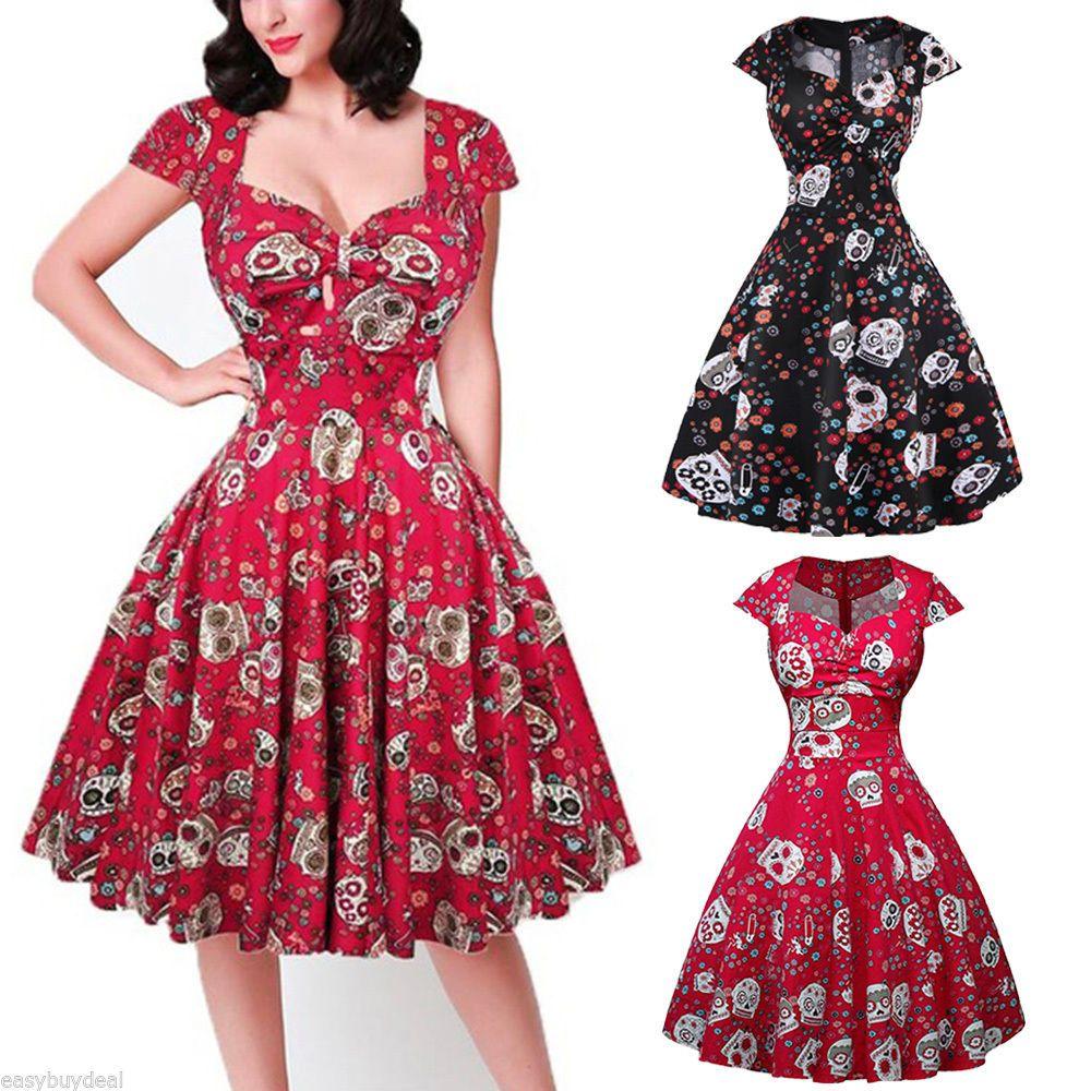 6b7c0d6b0e 17.59 | Vintage Retro 50s Swing Skull Gothic Dress Women PLUS SIZE ...