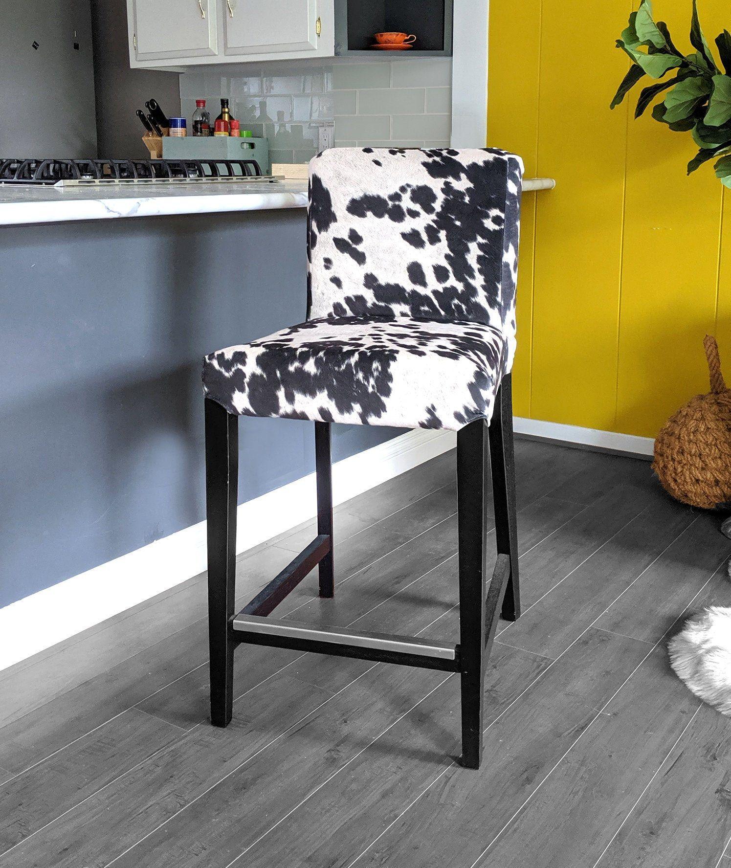 Ikea Henriksdal Bar Stool Chair Cover Black Cow Print Ikea Slip