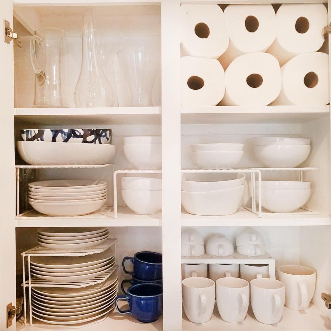 Organizedbyellis On Instagram Organizing Tip Adding Shelf Risers To Your Kitchen Cabinet Is A Total Game Cha Organisation Hacks Diy Kitchen Storage Shelves