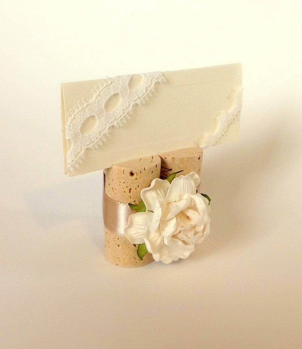 Wine Cork Place Card Holders Escort Champagne Colored Wedding Decorations Set Of 10