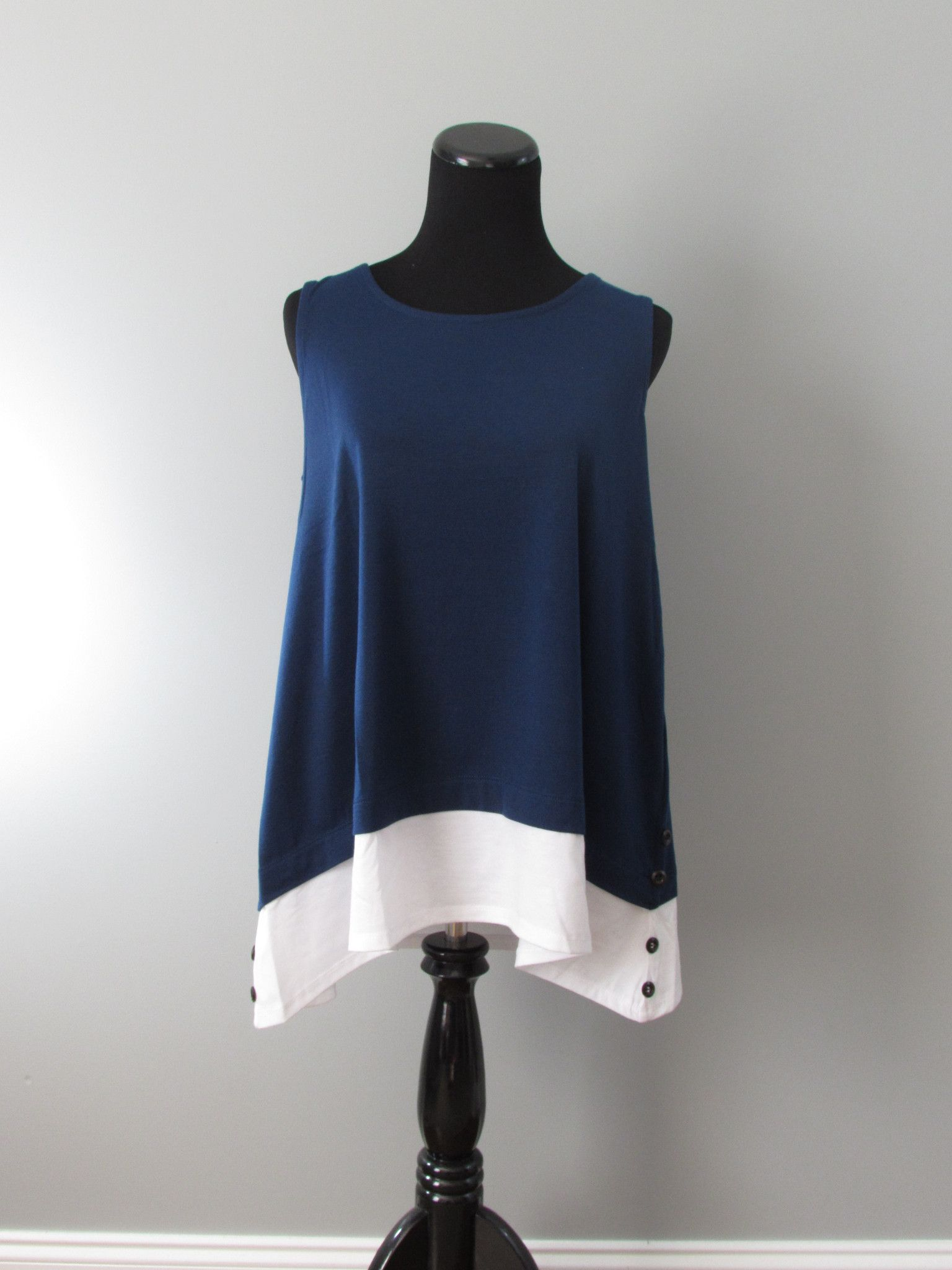 Tiered Button Sleeveless Top in Navy