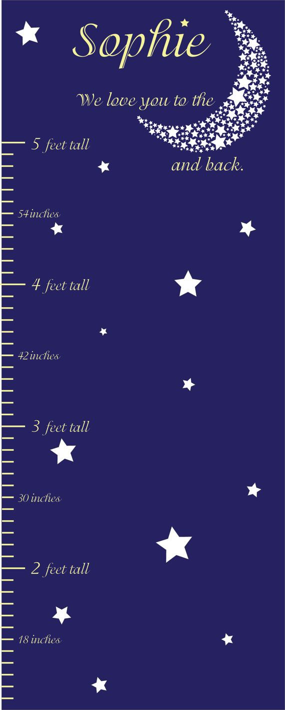 Personalized growth chart moon stars nursery art custom personalized growth chart moon stars nursery art custom sizes colors geenschuldenfo Choice Image