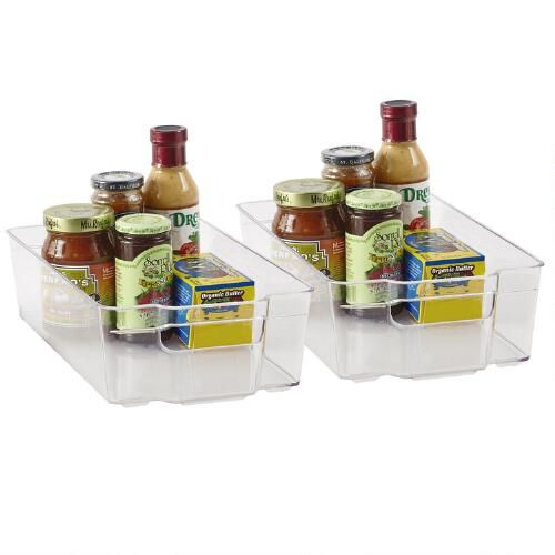 """One of my favorite discoveries at ChristmasTreeShops.com: 14"""" x 8"""" Clear Refrigerator Bins, Set of 2"""