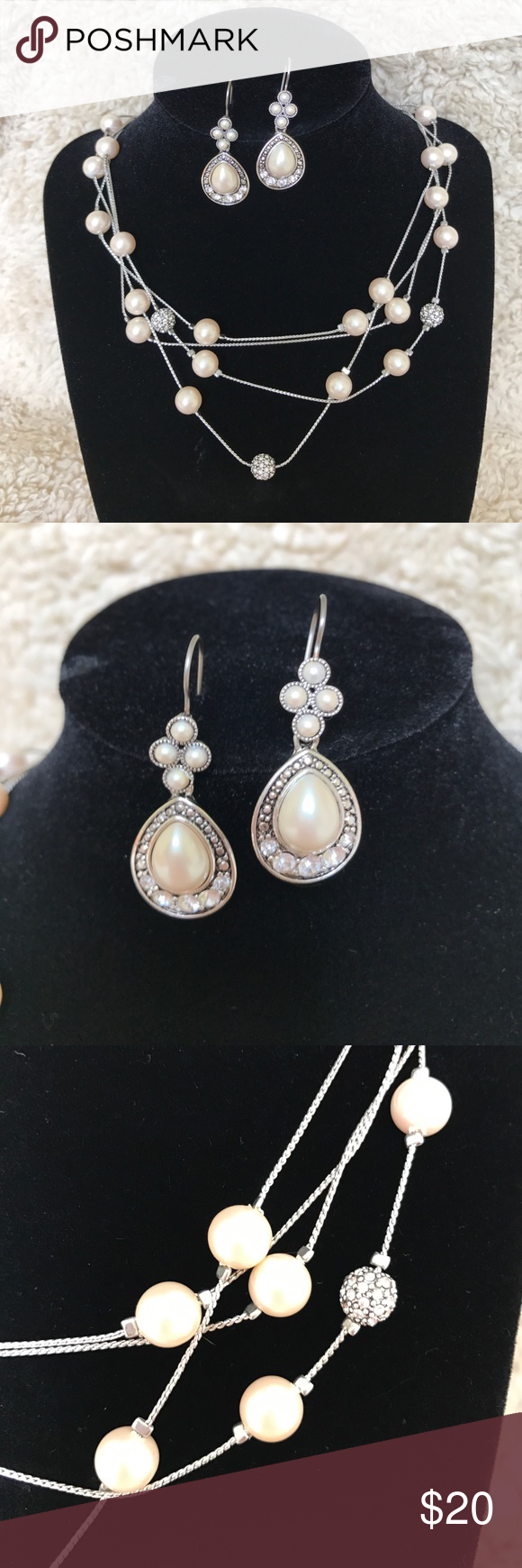 """🌺Sale🌺Pearl earring and necklace bundle. Faux pearl and rhinestone earring and necklace bundle. Perfect for prom/wedding season. Earrings measure 1-1/2"""" long. Necklace is adjustable and measures 17-1/2"""" at longest point. Excellent condition. Jewelry Necklaces"""