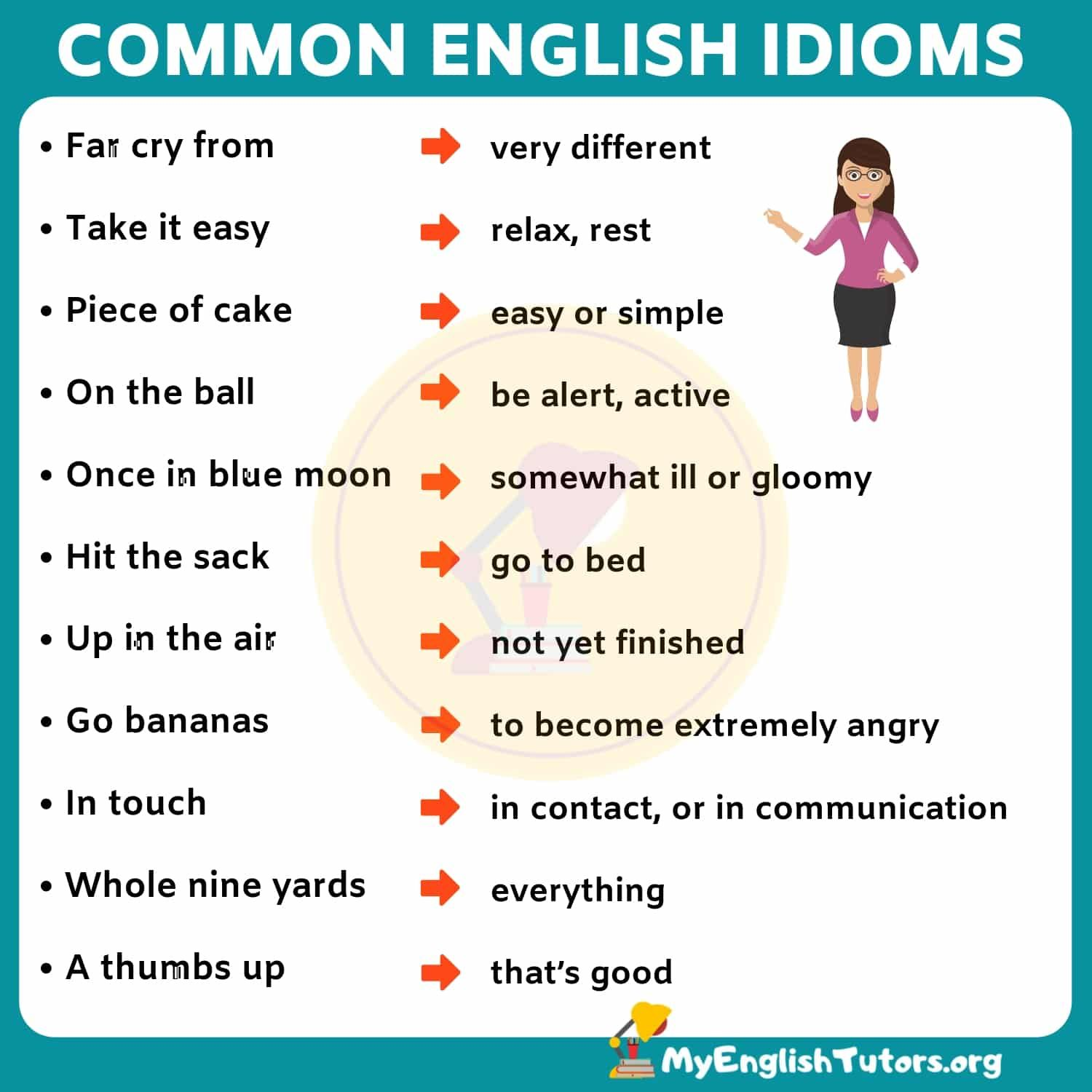 List Of 35 Interesting English Idioms Examples Their Meanings My English Tutors English Idioms Idioms English Vocabulary