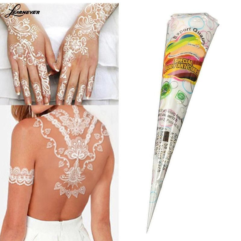 44ac16dcd Natural Herbal Henna Cones Temporary Tattoo kit White Body Art Paint M –  Bohemian Moon Boutique