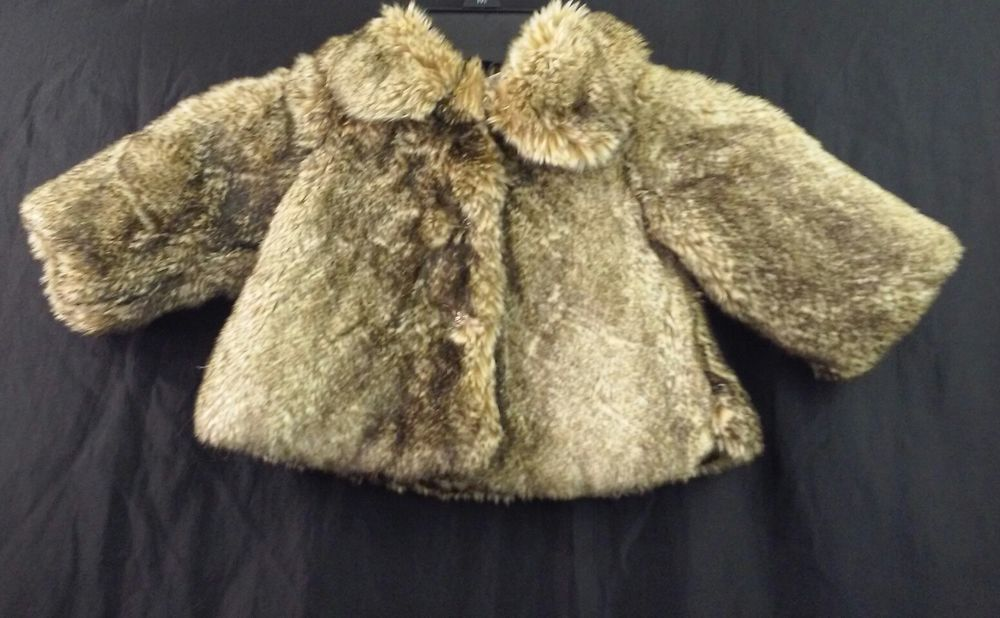 9fa1e1375 Amy Coe Size 6 Months Baby Girl Faux Fur Black Beige Soft Coat ...
