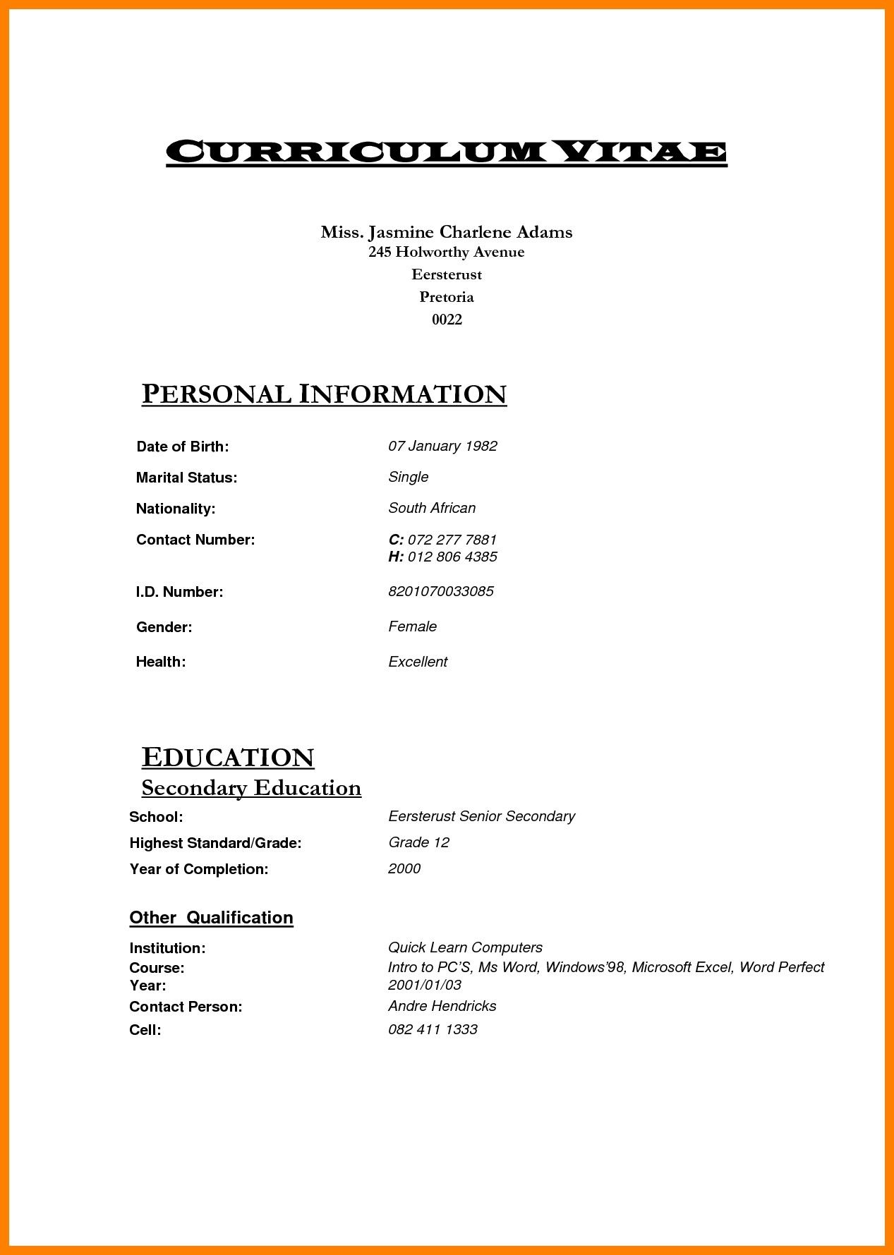Cv Template Za Bio data for marriage, Cv template, Bio data