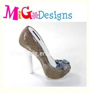 High heel shoe money box blond color ceramic coin bank, girls\' cash ...