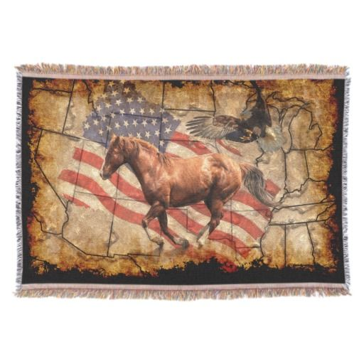 Cantering Western Horse w Bald Eagle and US Flag Throw