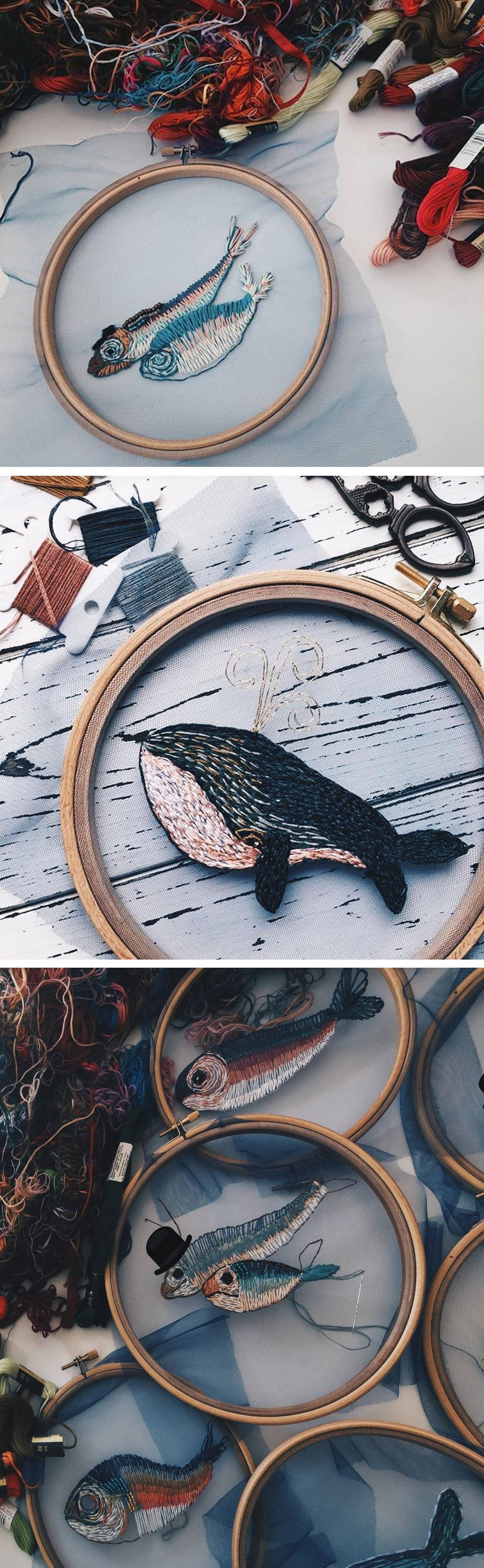 fish embroidery on tulle turns an embroidery hoop into a fishbowl is part of Embroidery - Fish Embroidery on Tulle Turns an Embroidery Hoop into a Fishbowl Loveart DIY