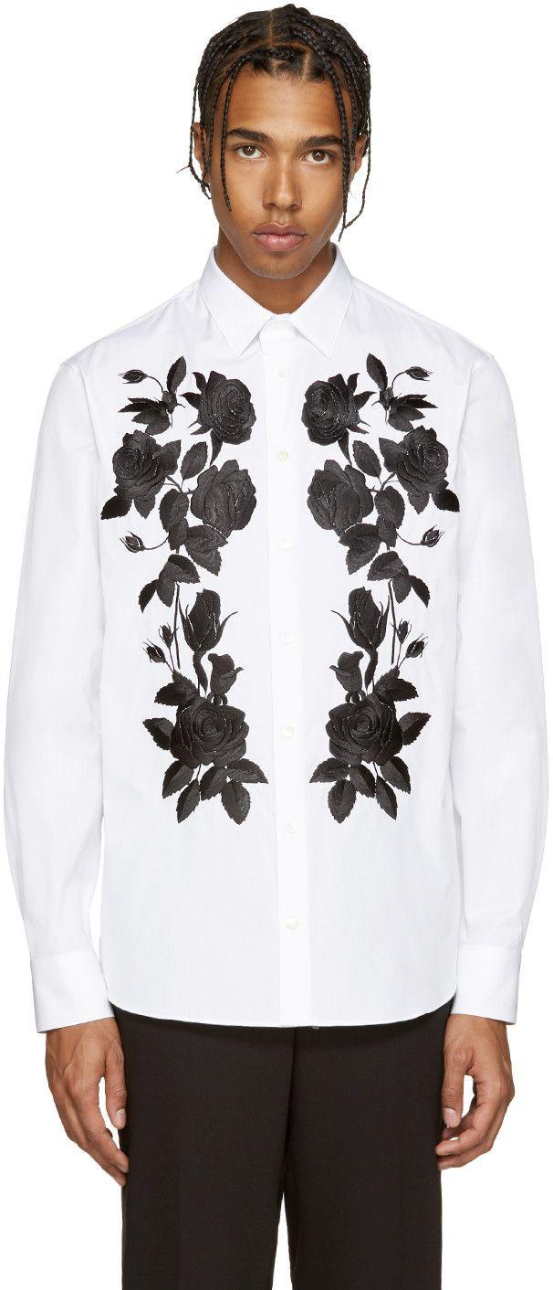 3fc5b157 ALEXANDER MCQUEEN White Embroidered Floral Shirt. #alexandermcqueen #cloth # shirt