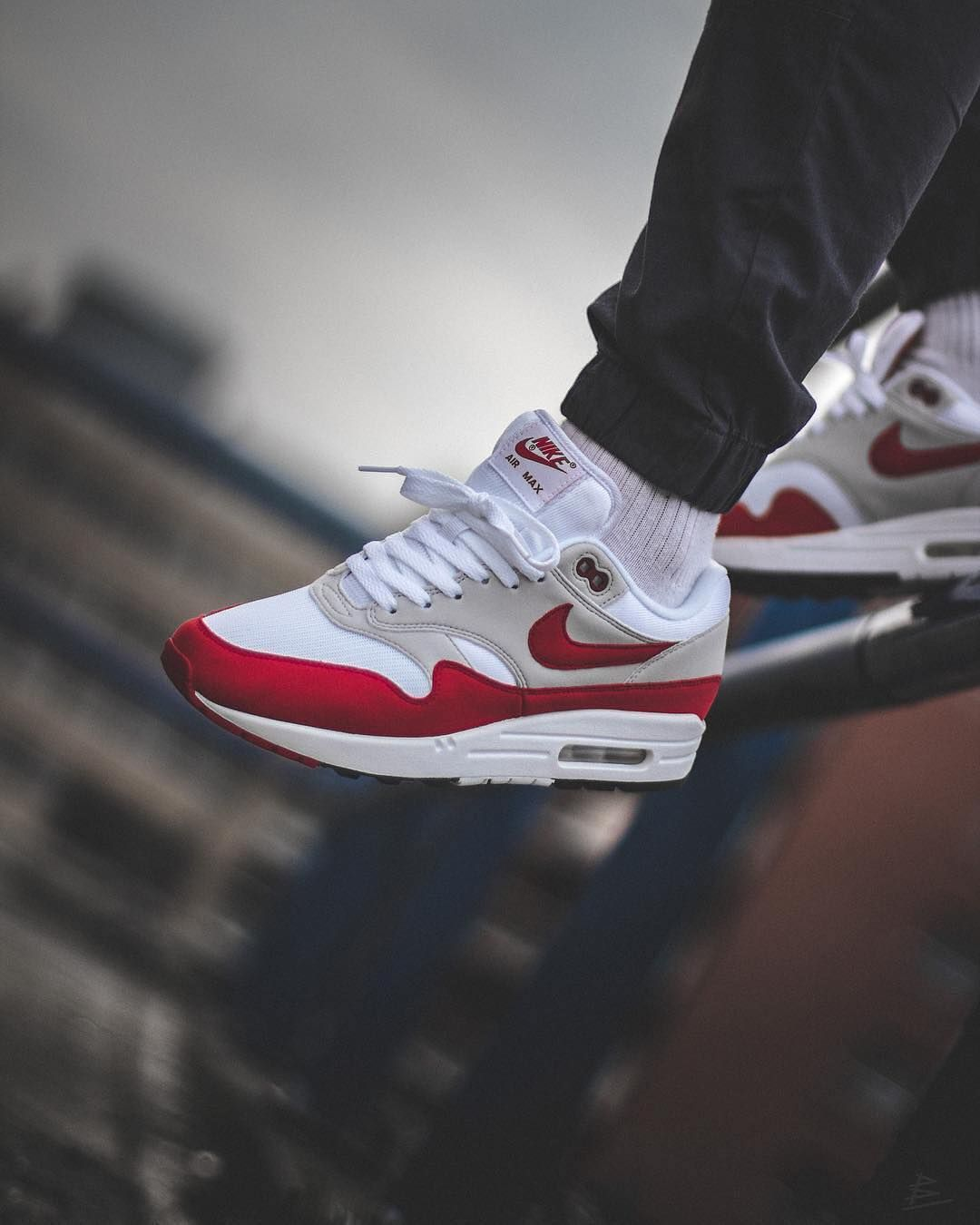 red and white nike air max essentials