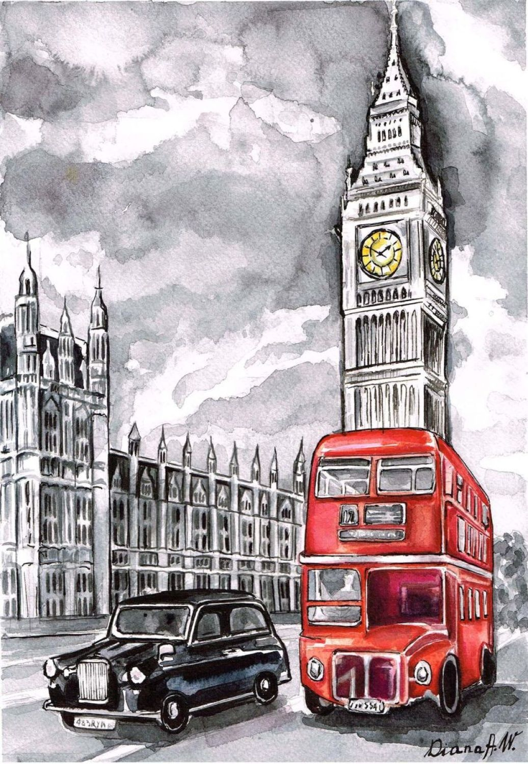 Red House Drawing: London, Westminster, Big Ben, Red Bus, Black Taxi Cab