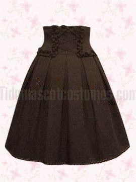 Brown Pleated Cotton Lolita Skirt