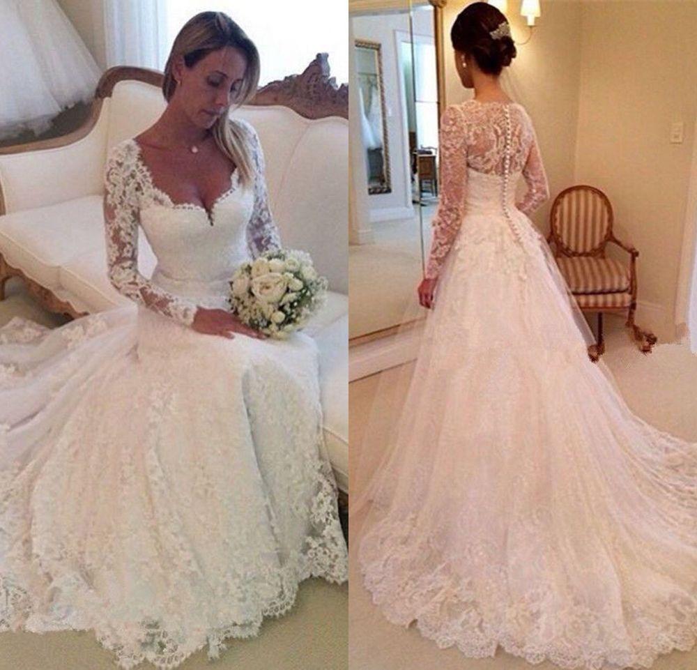 Vintage Long Sleeve Lace Wedding Dresses Elegant White