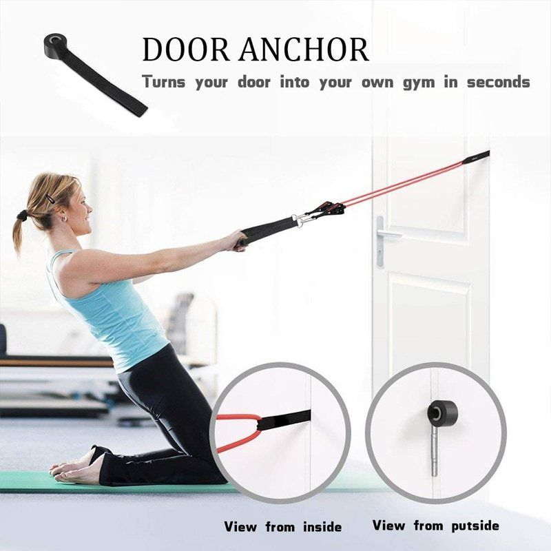 Resistance Bands Elastic Band Tube Home Exercise Yoga Over Door Anchor Fitness