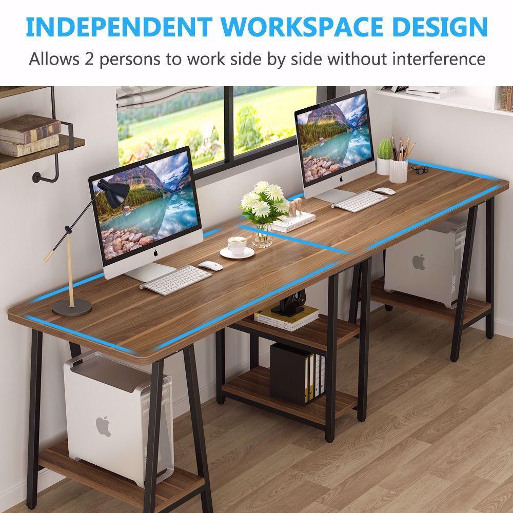 94 5 Inches Computer Desk Extra Long Two Person Desk With Storage Shelf En 2020 Decoracion De Oficina En Casa Oficina En Casa Hogar