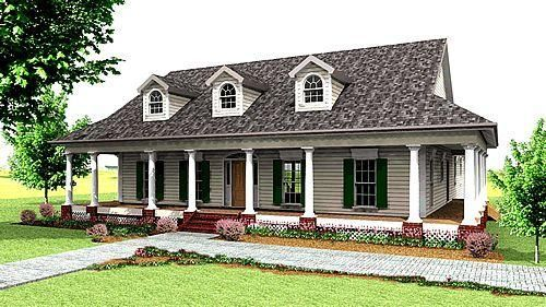One Story House With Wrap Around Porch Country Style House Plans Southern House Plans Country House Plans