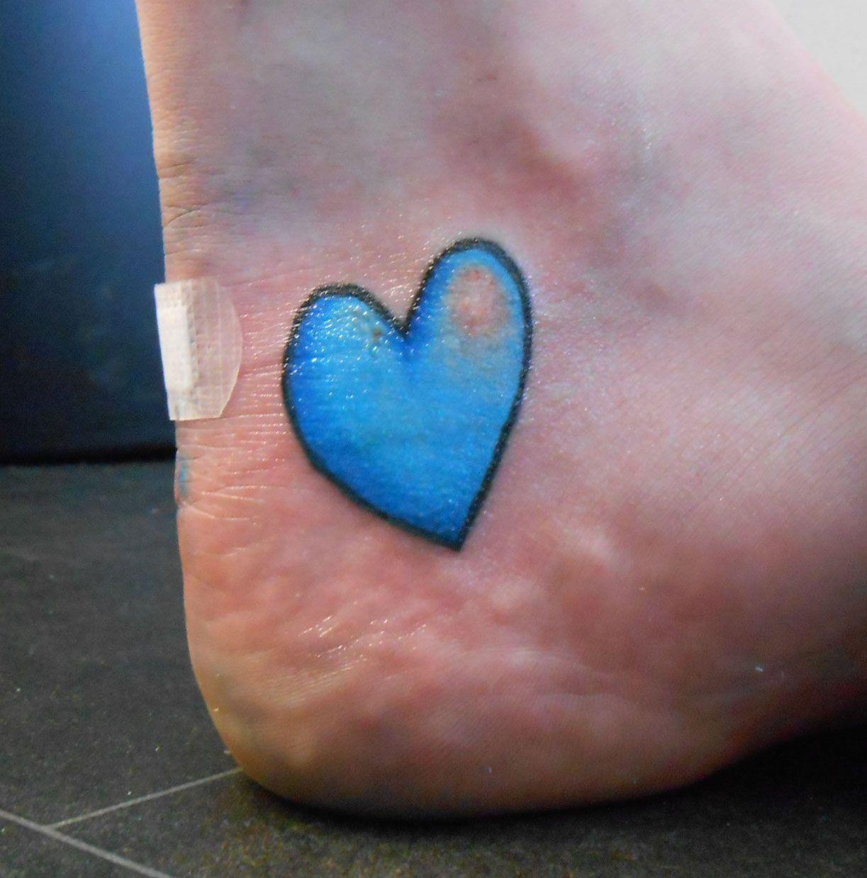 A Blue Love Heart Tattoo #tattoo #heart