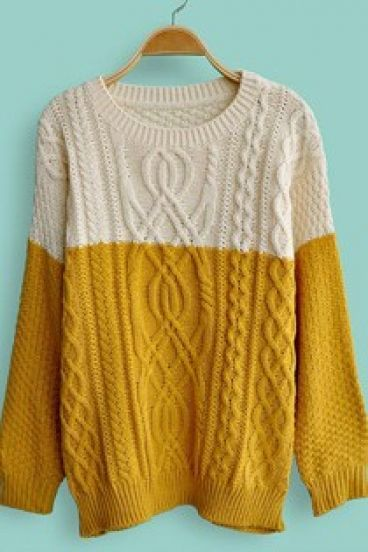 Yellow White Long Sleeve Cable Knit Sweater || These would look ...