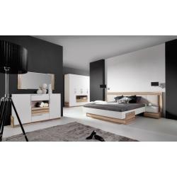 Photo of Juego de dormitorio completo A Andenne, 5 piezas, piedra blanca / nogal