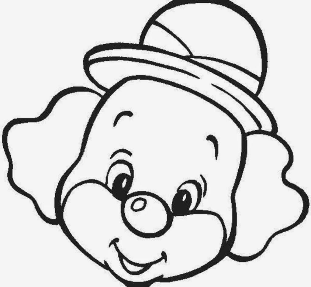 Dibujo para colorear con el rostro de un payaso de sombrero pequeño ...