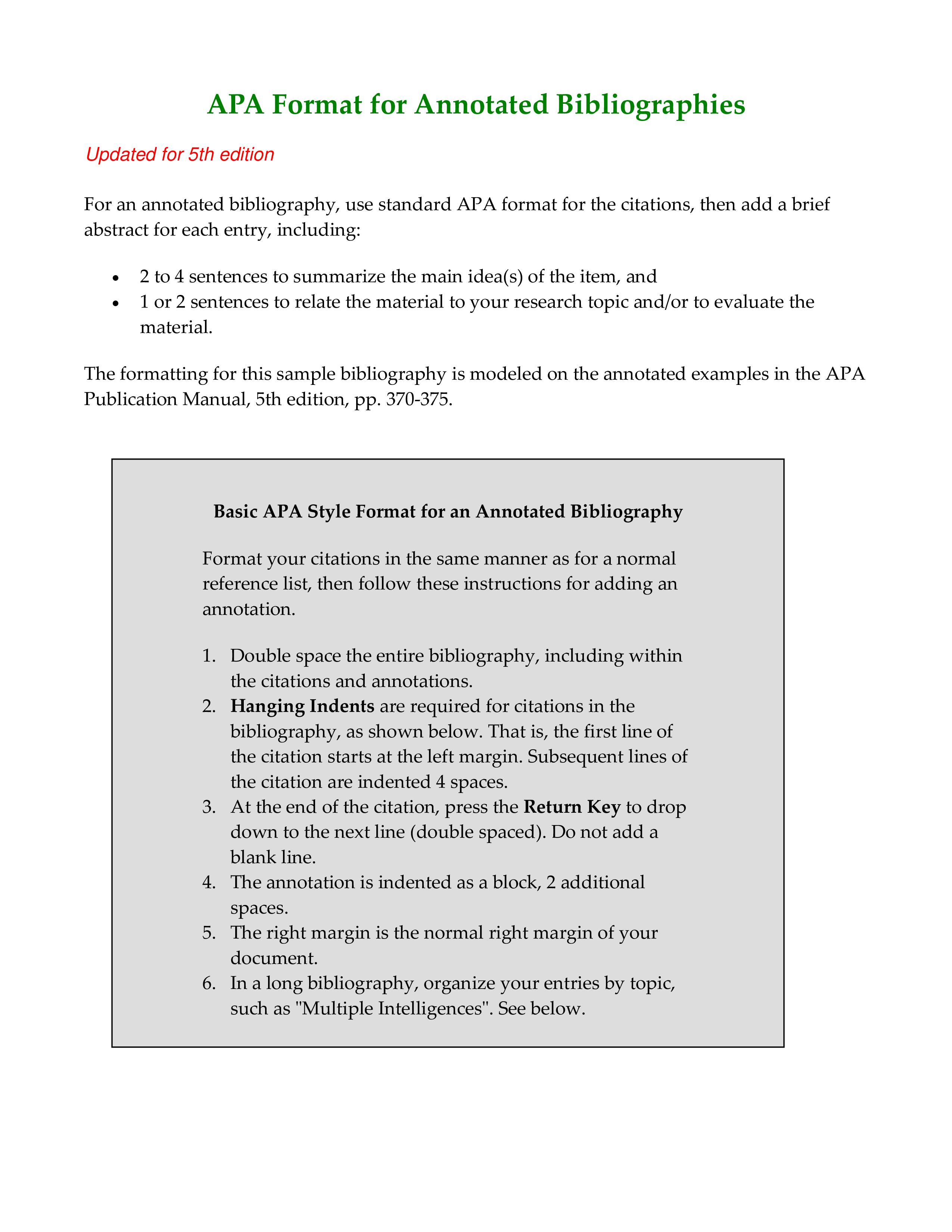 Bibliography In Apa Format How To Create A Bibliography In Apa Format Downl Annotated Bibliography Annotated Bibliography Apa Annotated Bibliography Example
