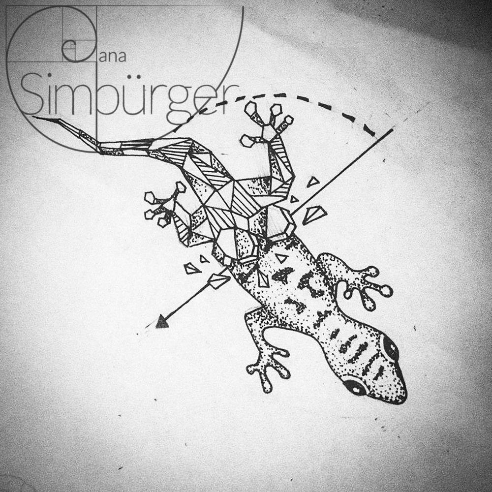 semi geometric animal tattoo gecko instagram tattoo. Black Bedroom Furniture Sets. Home Design Ideas