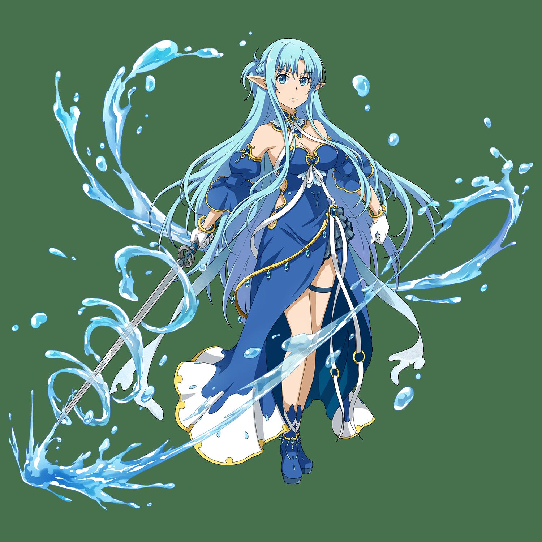 1girl asuna_(sao-alo) blue_eyes blue_hair blush fan from