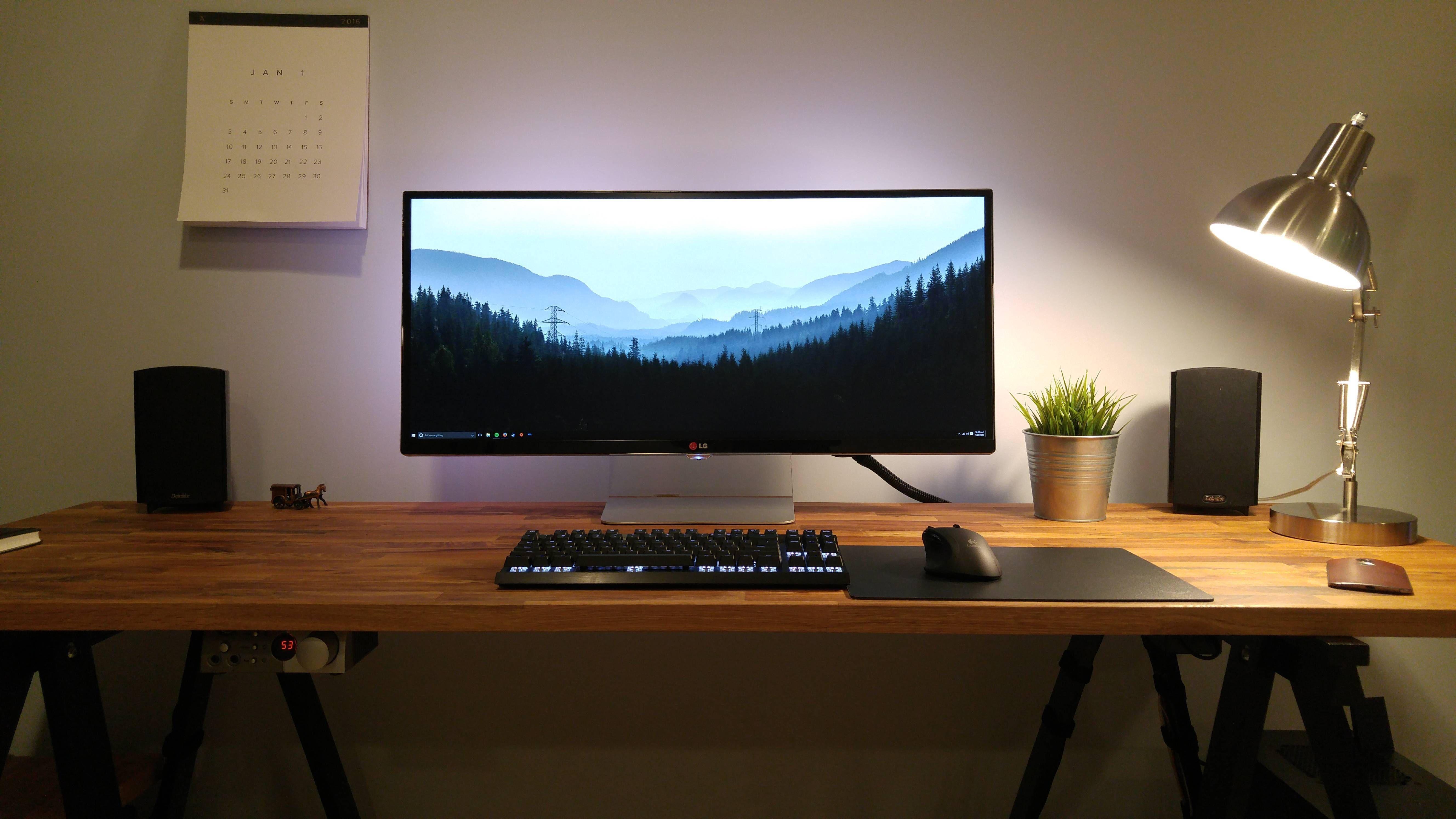 Stylish Office Desk Setup Desk Setup Pc Desk Home Office Setup
