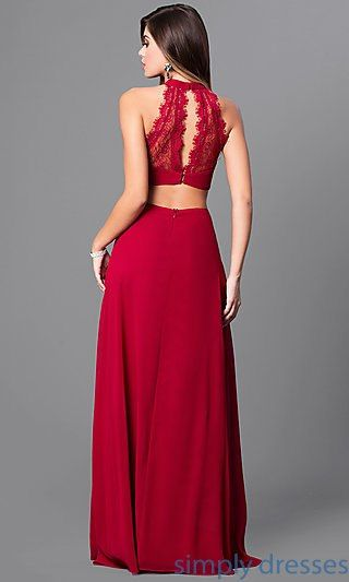 Mt 8149 Long Prom Dress With Sheer Lace Cut Out Bodice Lace