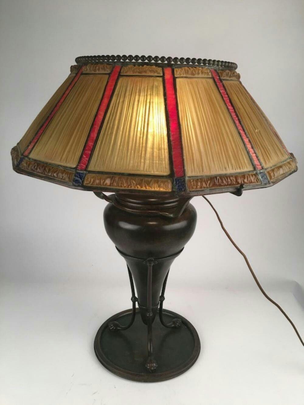 Tiffany Studios Bronze and Favrile Glass Linenfold Lamp